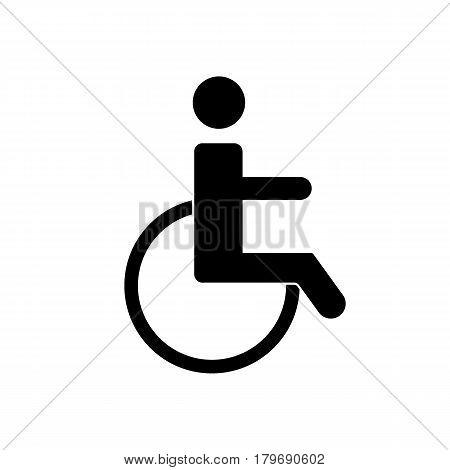Illustration of wheelchair icon on white background