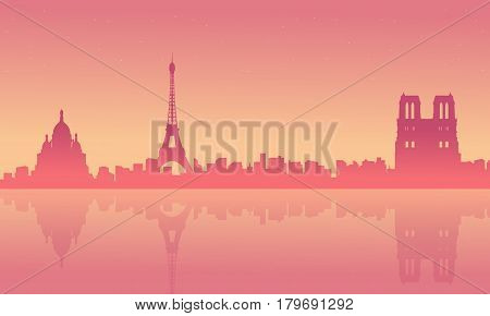 Collection stock of Paris scenery at sunrise silhouettes illustration