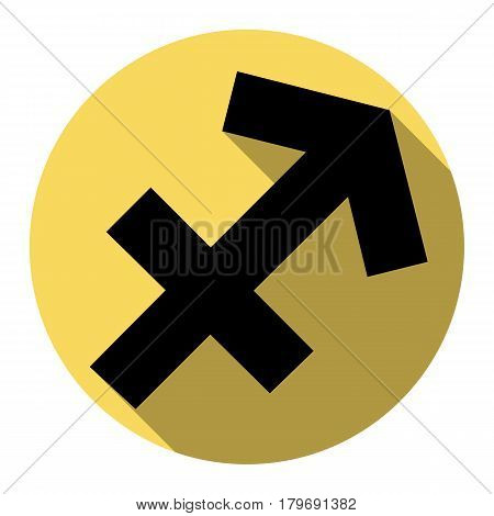 Sagittarius sign illustration. Vector. Flat black icon with flat shadow on royal yellow circle with white background. Isolated.