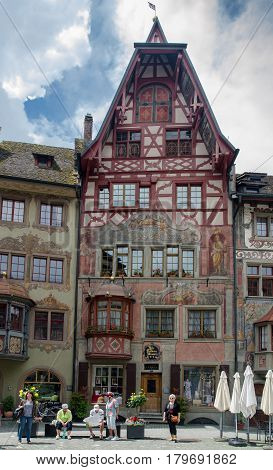 Painted Houses On Main Square At Medieval Town Stein Am Rhein. Schaffhausen Canton. Switzerland