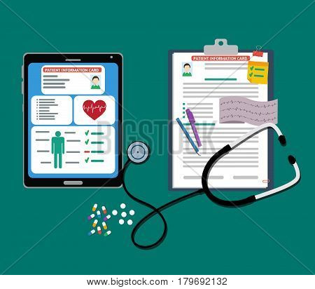 Paper and tablet patient cards with documents, stethoscope, pills, pen. patient card.