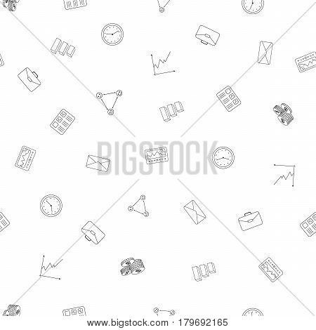 Office Business freehand drawings seamless pattern. Business pattern in doodle style. Hand drawn elements doodles design for wallpapers, wrapping, textile prints, backgrounds. Vector illustration.