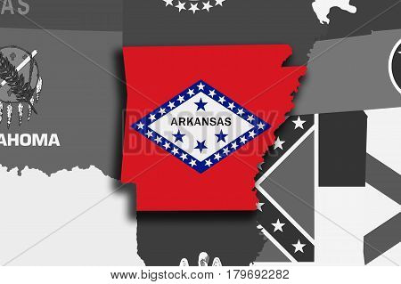Arkansas Map And Flag