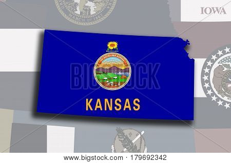 Kansas Map And Flag