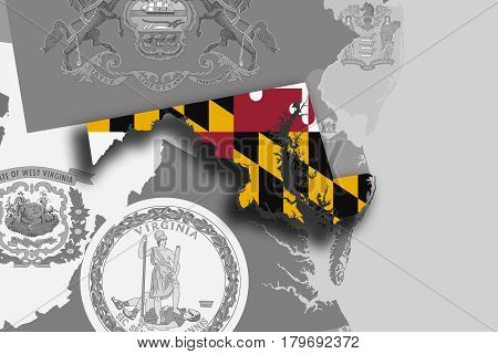 Maryland Map And Flag