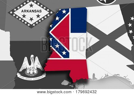 Mississippi Map And Flag