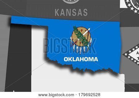 Oklahoma Map And Flag