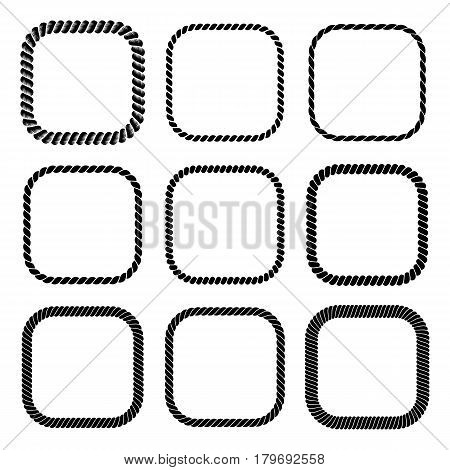 Vector set of square black monochrome rope frame. Collection of thick and thin borders isolated on the white background consisting of braided cord. For decoration and design in marine style.