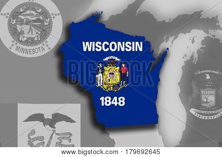 Wisconsin Map And Flag
