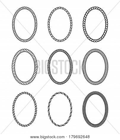 Vector rope set of oval frames. Collection of thick and thin borders isolated on white background consisting of braided cord and string. For decoration and design in marine style.