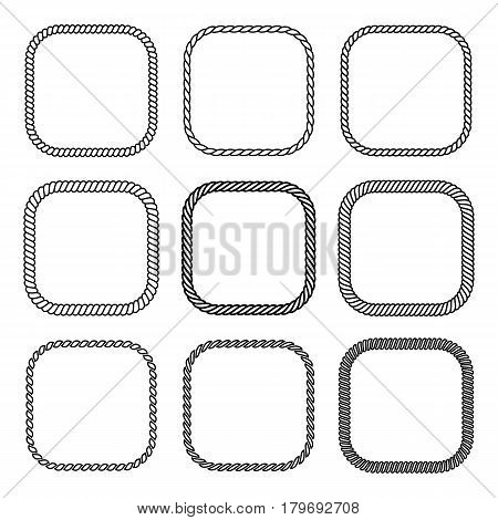 Vector rope set of square frames. Collection of thick and thin borders isolated on white background consisting of braided cord and string. For decoration and design in marine style.