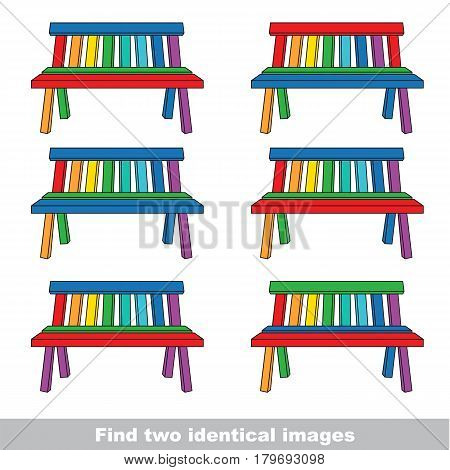 The visual vector game with color difference for preschool kids education with simple game level of difficulty, task is to find two similar Rainbow Benches.