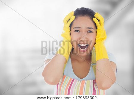 Digital composite of Stressed cleaning lady against bright background