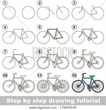 Kid game to develop drawing skill with easy gaming level for preschool kids, drawing educational tutorial for two-wheeled bicycle.