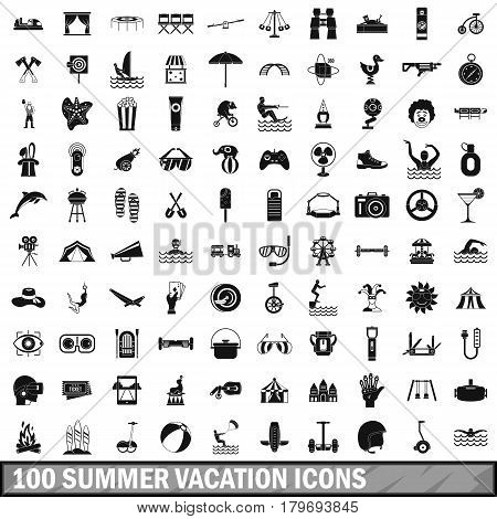 100 summer vacation icons set in simple style for any design vector illustration