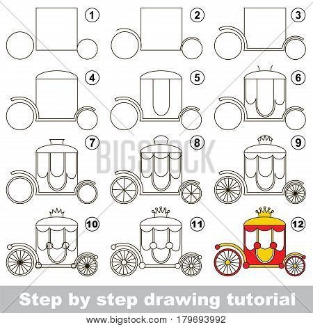 Kid game to develop drawing skill with easy gaming level for preschool kids, drawing educational tutorial for Red and gold princess Chariot.
