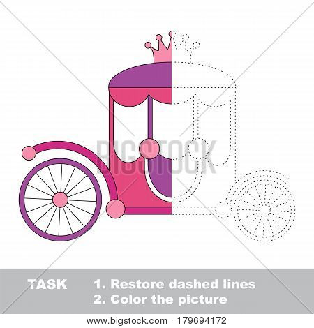 The Pink Prinsess Chariot with Crown. Dot to dot educational game for kids, color the colorless half of picture.