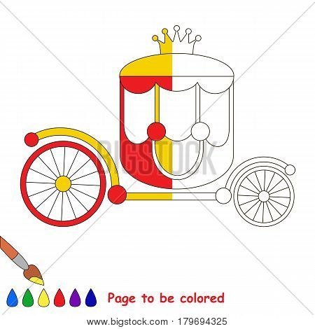 The Red Prinsess Chariot with Gold Crown. Dot to dot educational game for kids, color the colorless half of picture.