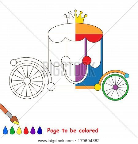 Colorful Rainbow Princess Chariot, the coloring book to educate preschool kids with easy gaming level, the kid educational game to color the colorless half by sample.