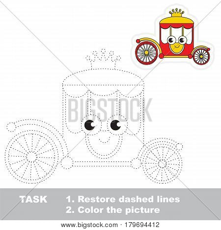 Funny Alive Red and Gold Princess Chariot. Dot to dot educational game for kids, tracing worksheet.