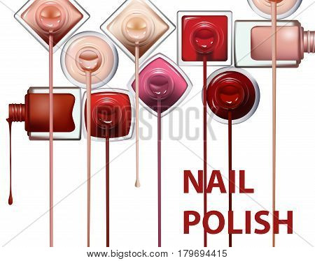 Close up of nail polish flow on white background with clipping path. Perfect for advertising banners booklet magazines. Vector template
