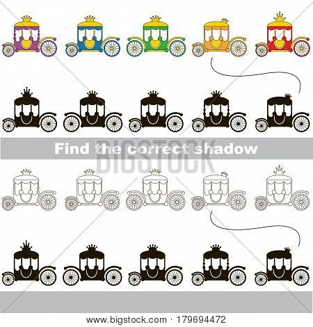 Rainbow Colorful Princess Chariots set to find the correct shadow, the matching educational kid game to compare and connect objects and their true shadows, simple gaming level for preschool kids.