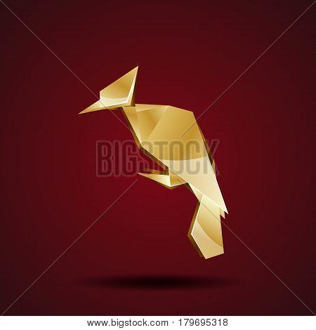 Vector golden origami woodpecker. Polygonal bird logo template.