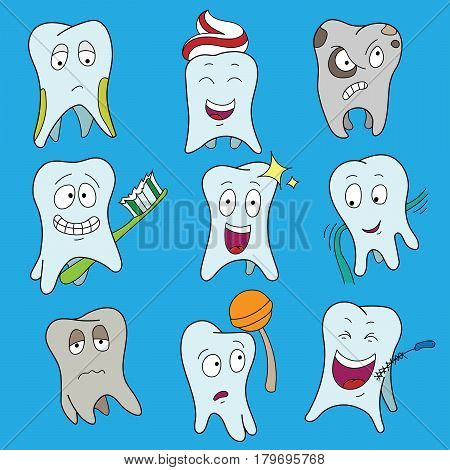 Teeth Collection Flat Vector Illustration. Set of cute tooth showing various emotions, happy shiny white tooth characters symbols, isolated cartoon vector illustration.