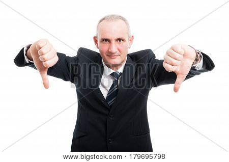Middle Aged Elegant Man Showing Double Dislike Gesture