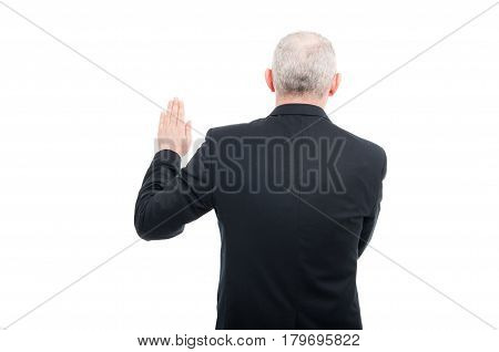 Back View Aged Elegant Man Making Oath Gesture