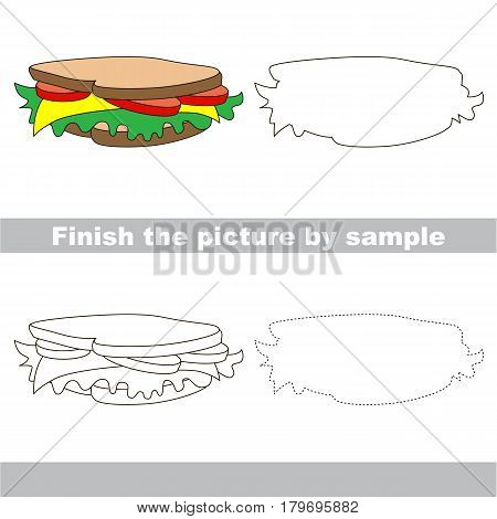 Drawing worksheet for preschool kids with easy gaming level of difficulty, simple educational game for kids to finish the picture by sample and draw the Sandwich