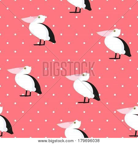 Seamless pattern polka dot with pelican. Ornament for textile and wrapping. Vector background.