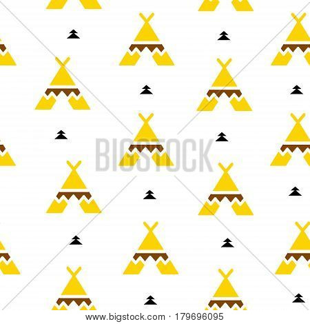 Summer pattern with wigwam and triangles. Aztec design. Vector background.