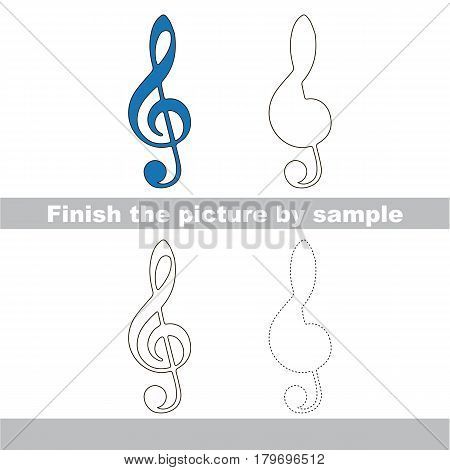 Drawing worksheet for preschool kids with easy gaming level of difficulty, simple educational game for kids to finish the picture by sample and draw the Blue Treble Clef