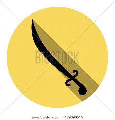 Sword sign illustration. Vector. Flat black icon with flat shadow on royal yellow circle with white background. Isolated.