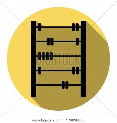 Retro abacus sign. Vector. Flat black icon with flat shadow on royal yellow circle with white background. Isolated.