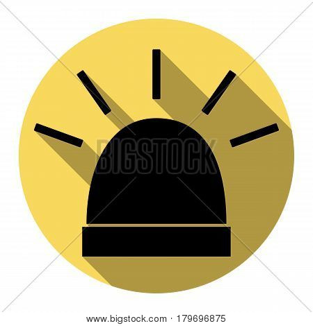 Police single sign. Vector. Flat black icon with flat shadow on royal yellow circle with white background. Isolated.