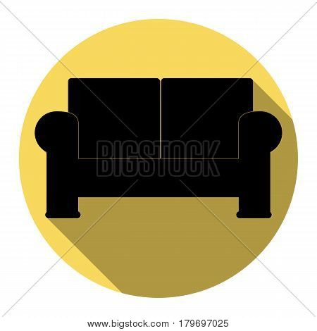 Sofa sign illustration. Vector. Flat black icon with flat shadow on royal yellow circle with white background. Isolated.