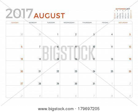 2017 Calendar Planner Vector Design Template. August. Week Starts Sunday