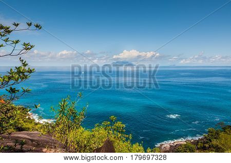 View from Anse Major Nature Trail over the northwest coastline of Mahe island Seychelles. Summer holiday concept.