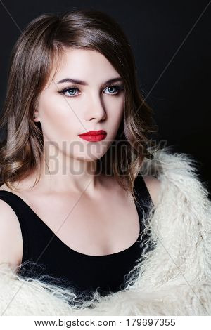 Pretty Woman with Perfect Bob Hairstyle and Make up