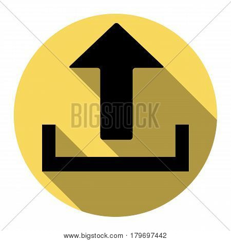 Upload sign illustration. Vector. Flat black icon with flat shadow on royal yellow circle with white background. Isolated.