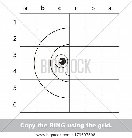 Finish the simmetry picture using grid sells, vector kid educational game for preschool kids, the drawing tutorial with easy gaming level for half of geometric shape Funny Ring