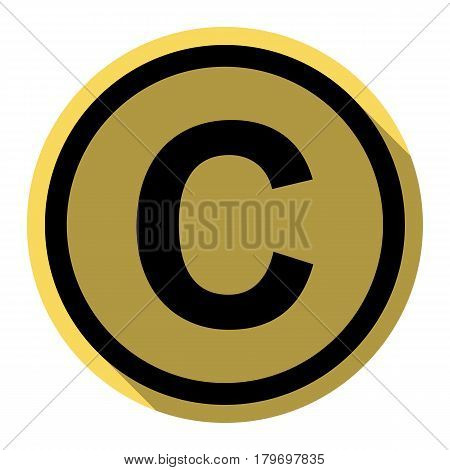 Copyright sign illustration. Vector. Flat black icon with flat shadow on royal yellow circle with white background. Isolated.