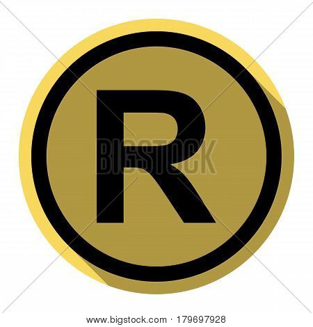 Registered Trademark sign. Vector. Flat black icon with flat shadow on royal yellow circle with white background. Isolated.
