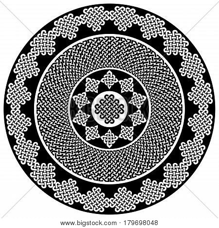 Mandala style Celtic style endless knot symbols in white and black inspired by Irish St Patrick's Day, and Irish and Scottish carving art