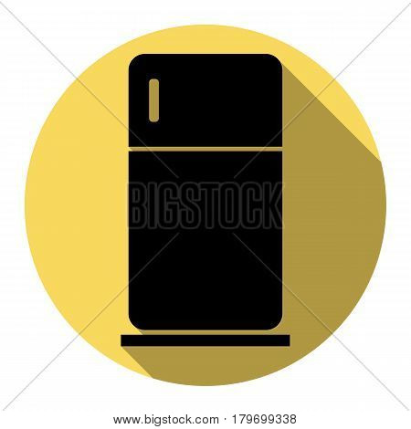 Refrigerator sign illustration. Vector. Flat black icon with flat shadow on royal yellow circle with white background. Isolated.