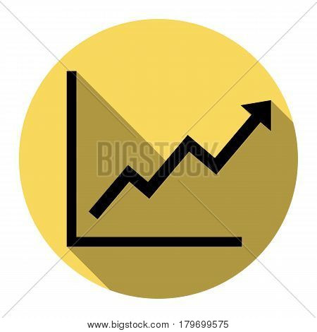 Growing bars graphic sign. Vector. Flat black icon with flat shadow on royal yellow circle with white background. Isolated.