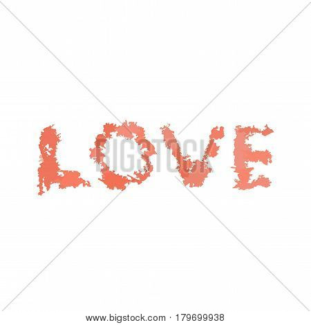Love Script from pink watercolor blurs. Vector illustration for t-shirt and greeting card