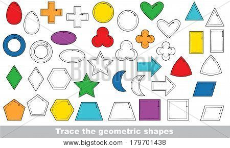 Set of geometric forms and shapes. Dot to dot educational game for kids, the primary geometry for preschool children.